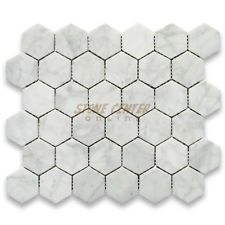 Italian Bianco Carrera White Venato Carrara Polished 2 in Hex Mosaic Tiles are perfect for any interior project. Carrara White Marble Hexagonal Mosaic tile can be used for kitchen backsplash, bathroom shower floor Hexagon Mosaic Tile, Marble Mosaic, Carrara Marble, Hex Tile, Penny Tile, White Bathroom Tiles, Bathroom Floor Tiles, Shower Floor, Master Bathroom