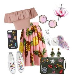"""""""Summer look. Summer is coming😆✨🌴"""" by kosinskaianina on Polyvore featuring Dolce&Gabbana, Miss Selfridge, Betsey Johnson, Moschino, Joshua's, Lancôme and Ann Taylor"""