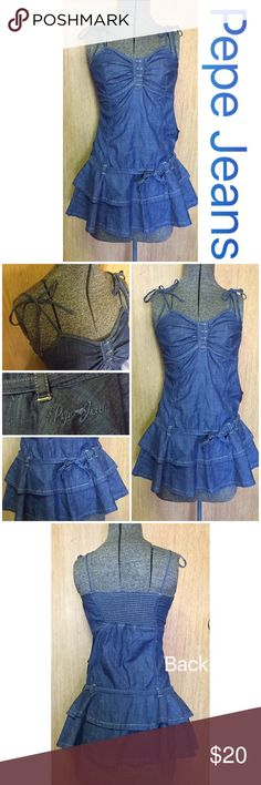 "PePe Jeans💥Denim Dress PePe Jeans Denim Dress size XS. The straps on the shoulder are ties and there is a side zipper. There is a tie on the bottom front of dress. The front top has Denim buttons and the top back has stretch. This dress can be worn with or without leggings. Top to bottom it measures 23.5"" inches not including the ties. The bus area is 12"" inches across laying flat but it has stretch on the back incase you are bustier. Double layer bottom and totally adorable!! Pepe Jeans…"