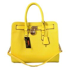 Under $60...Michael Kors Perforated Large Yellow Totes Outlet