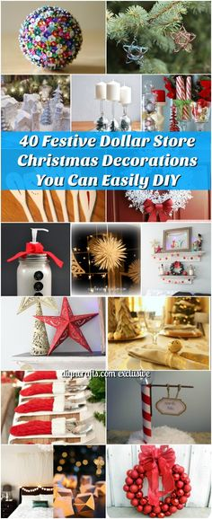 40 Festive Dollar Store Christmas Decorations You Can Easily DIY - It's that time of year again – the time when I bring you loads and loads of DIY Christmas projects. I absolutely adore making my own decorations not to mention the baking and candy making. The holiday season is seriously my favorite time of year. #diy #festive #Christmas #decorations via @vanessacrafting