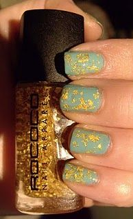 Turquoise + gold leaf nails