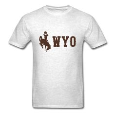 ZHEDZU Men's Wyoming Cowboys WYO Logo Cool T Shirt Cotton Light oxford XXXL -- Awesome products selected by Anna Churchill