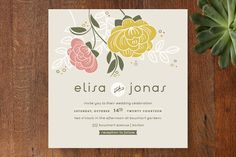 Breezy Bouquet Wedding Invitations by Melanie Severin at minted.com