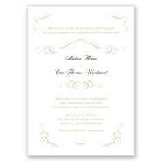 Artistic swirls surround your names and wording, making this invitation card elegant and eye-catching. The design is printed in the main ink color you choose for your wording.  Product Details:    Invitation Size: 5 1/2' x 7 3/4'  Card Type:   Flat non-folding   Prints In: Raised, Thermograph process  Ink Color: Choose from a variety of ink options including David's Bridal exclusive colors  Choice of fonts and verses  Optional Envelope Liners  Price Includes: Invitation,...