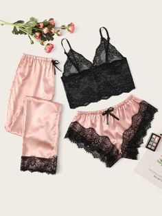 Shein Floral Lace Bralette With Satin Shorts & Pants Click Pic for the Hottest Lingerie Online Jolie Lingerie, Satin Lingerie, Lingerie Set, Women Lingerie, Lingerie Dress, Luxury Lingerie, Cute Sleepwear, Lingerie Sleepwear, Nightwear