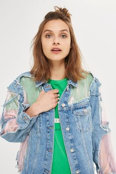 Revamp the denim jacket in this MOTO bleach denim version with cut out pink organza panels. A distressed look, this is a wardrobe must-have for the ultimate rebel-girl.