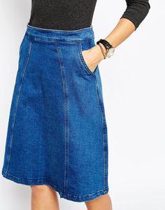 Denim Skirt | Just Female | Just Female Hotel Skirt in Blue Rinse at ASOS