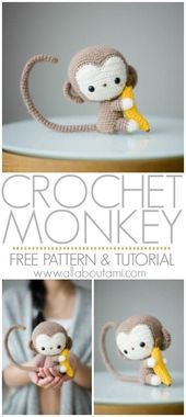 Crochet your own adorable amigurumi baby monkey with this free crochet pattern & step-by-step tutorial! He has a poseable tail and is clutching a small banana! Pattern: Monkey - All About Ami Cydney Fowler cydneycreations Amigurumi Crochet your own Crochet Amigurumi Free Patterns, Crochet Animal Patterns, Crochet Motifs, Stuffed Animal Patterns, Crochet Animals, Baby Patterns, Crochet Monkey Pattern, Amigurumi Tutorial, Knitting Patterns