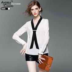 spring summer high quality womans shirt blouse white silk blends shirt v-neck black collar tie ribbon fashion work casual blouse