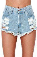 Haola Women's Stretchy Jean Shorts Mid Waist Ripped Denim Shorts