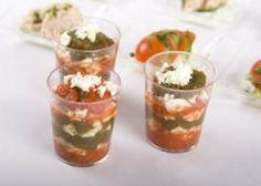 Verrines de poivron, tomate et feta
