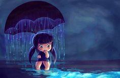 Girl with umbrella rain cartoon art Anime Chibi, Anime Art, Art Bleu, Character Design Cartoon, Umbrella Art, Art Graphique, Blue Art, Cartoon Art, Rain Cartoon