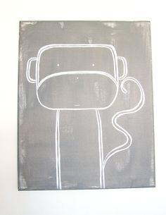 No. 0010 - Modern Kids and Nursery Art Original Painting - 16 x 20 on regular 3/4 depth canvas - The Monkey via Etsy