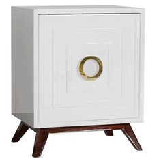 Limited Production Design & Stock: Elegant White Bedside Cabinet * Single, Shelving, High Gloss Lacquer, Brass Handles  * 24 x 30 x 18 inches