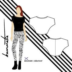 Kommatia - PDF sewing patterns: Free pattern - Batwing jersey top (B204)