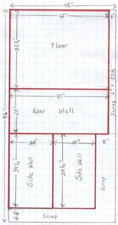 Whelping box plan, floor, back, and sides
