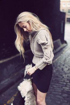 knit sweater + black skirt.