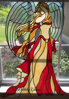Stained Glass Panel Angel of Beauty par DobbyGlass sur Etsy