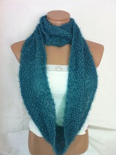 TEAL GREEN HAND KNITTED INFINITY SCARF BY ARZUS ON ETSY, $13.90