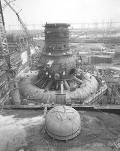 """Browns Ferry Nuclear Power Plant's Unit 1 under construction, 1966 [[MORE]] """" The Browns Ferry Nuclear Plant is located on the Tennessee River near Decatur and Athens, Alabama, on the north side..."""