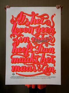Zeefdruk-poster-herdruk als het leven geen zin meer heeft dan maakt het maar zin (studio boot)