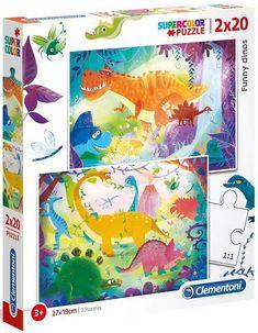 Puzzles 2x20 pièces de dimensions 26.8 x 18 cm.La collection SuperColor, dédiée aux enfants, propose de nombreux puzzles à l'image des héros préférés des enfants.La variété des images colorées et les différents nombres de pièces permettent à chacun de s'amuser et de développer ses capacités de logique et d'observation. Puzzles, Office Supplies, Funny, Dimensions, Images, Collection, Dinosaurs, Gaming, Gifts