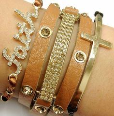 Absolutely love this bracelet combination, especially the sideways cross bangle--matches my necklace!
