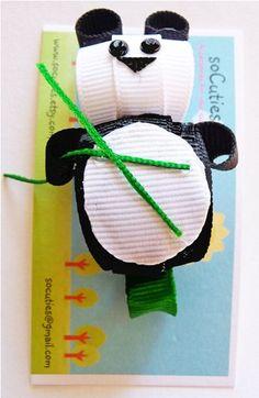 Panda ribbon sculpture hair clip