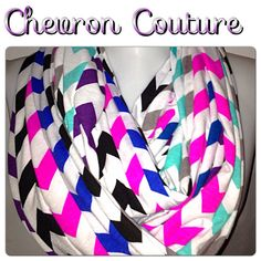 Haute Couture Chevron Infinity Scarf Wide and Long by Phatcatpatch, $44.99 aqua,gray,black,hot pink,purple,teal and blue chevron on white