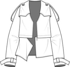 Jacket with removable parts. Flat Drawings, Flat Sketches, Technical Drawings, Fashion Design Template, Fashion Templates, Fashion Design Drawings, Fashion Sketches, Drawing Fashion, Fashion Flats
