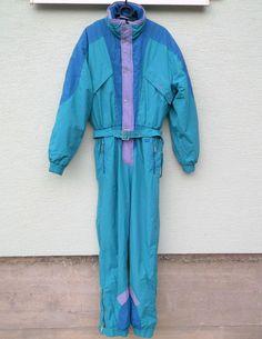 575fdd88f89 Vintage 90s light green VOLKI Ski Suit All In One Snowsuit Onesie Size 50  RARE
