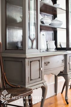 Dining room home furnishings choose your desired perfect space with the selection of dining room poker tables, area chairs. Painted China Cabinets, Mustard Seed, Painting Cabinets, Furniture Makeover, China Cabinet, Furniture Rehab, Furniture Projects, Grey Painted Furniture, Painted Trophies