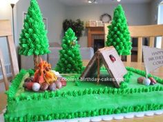 Homemade Camping Tent Birthday Cake: Bake a 9x13 chocolate (dirt) cake for this Camping Tent Birthday Cake. Frost it green, very smooth. Build tent using chocolate pop tarts, pretzel sticks