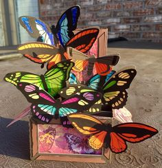 """Boho Butterflies Box Card by Bonita Brock (@bsbrock2013) on Instagram: """"Beautiful Boho butterfly box card from Svgcuts! #svgcuts #paperctafts #paperart #boxcards…"""""""