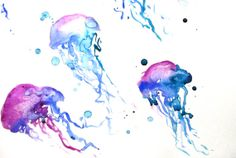 Jellyfish Watercolor Painting - 'You Jelly?' - Art Print Underwater Jellyfish - Blue, Purple, Turquoise