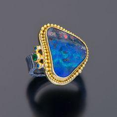 oxidized sterling silver 22kt gold granulation boulder opal ring  #OpalRings #OpalJewelry #AustraliaOpal