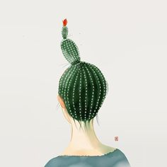 Art Inspiration: Whimsical illustration of a girl with a cactus bun. Cactus Drawing, Cactus Art, Watercolor Cactus, Kaktus Illustration, Illustration Art, Cactus Y Suculentas, Crazy Hair, Summer Art, Just In Case