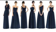 Love Alfred sung bridesmaid long navy dresses! Think I would pick a group of different ones like this with some killer earrings