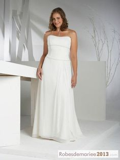Spectaculaire gaine colonne bretelles tribunal Floor-length Taille Plus robe de mariée
