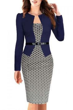 OL Style Argyle Round Collar Long Sleeve Faux Twinset Dress For Women
