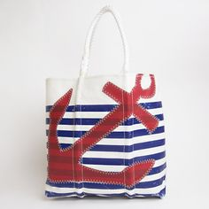 Large Navy Zip Top Anchor Tote with Navy Rope Handles ...