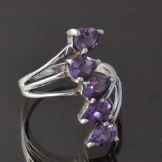 925 STERLING SILVER AMAZING AMETHYST EXCLUSIVE RING 5.36g DJR9365 SZ-8.5 #Handmade #Ring