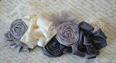 Pewter Grey Wedding Dress Sash / Vintage Style by KrumpetsWeddings, $75.50