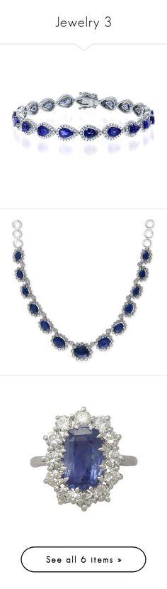 """Jewelry 3"" by empath-eye ❤ liked on Polyvore featuring jewelry, bracelets, diamond jewellery, sapphire jewelry, 18k white gold bangle, sapphire jewellery, white gold jewellery, necklaces, white gold and sapphire diamond necklace"