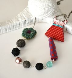 Statement Beaded Necklace Textile Strand by stellacreations, $36.00 This girl creates her beautiful designs in Greece. Lovely work!