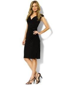 Lauren Ralph Lauren Petite Cap-Sleeve Empire-Waist Jersey Dress - Black 6P