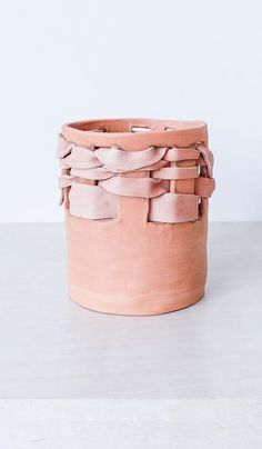 All Hands Terracotta and Leather Planter