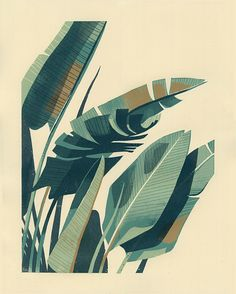"PALM PLANT 1- 4-color, hand-pulled screenprint- 16"" x 20""- Edition size of 55 The silkscreen edition is sold out but giclee prints are available in my online shop."
