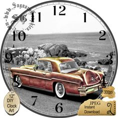 "1950 Pale Pink Continental Lincoln --DIY Digital Collage - 12.5"" DIA for 12"" Clock Face Art - Crafts Projects by CocoPuffsDesigns on Etsy"